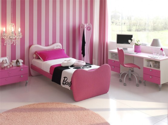 pink and white tiles wallpaper interior design ideas teenage girls room
