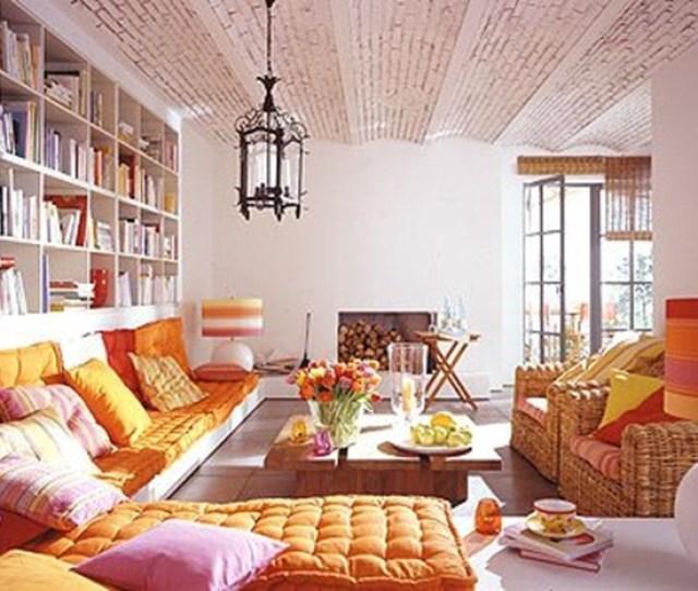 Boho Chic Orange Living Room  Ideas