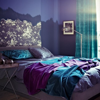 Jewel Tone Decor Purple and Blue Bed and Bedding in Ombre Purple Room with Turquoise Curtains