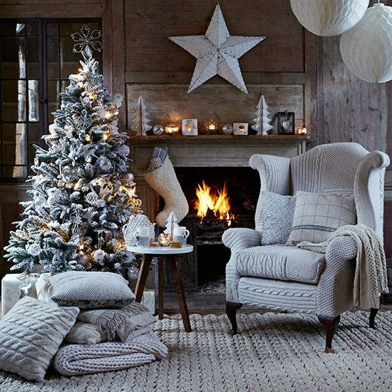 33 Best Christmas Country Living Room Decorating Ideas   Decoholic Christmas living room country decorating idea with knitted chair cover