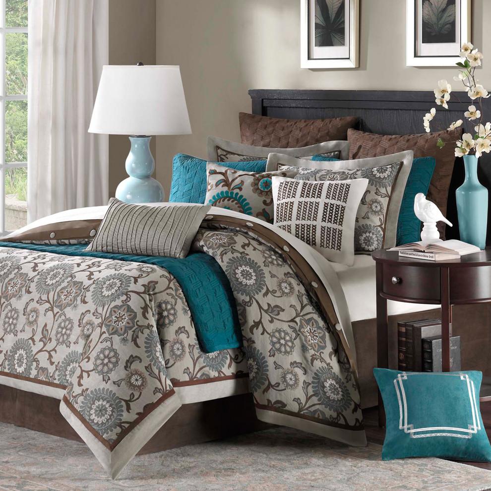 Chocolate Gray Teal Bedroom Color Scheme