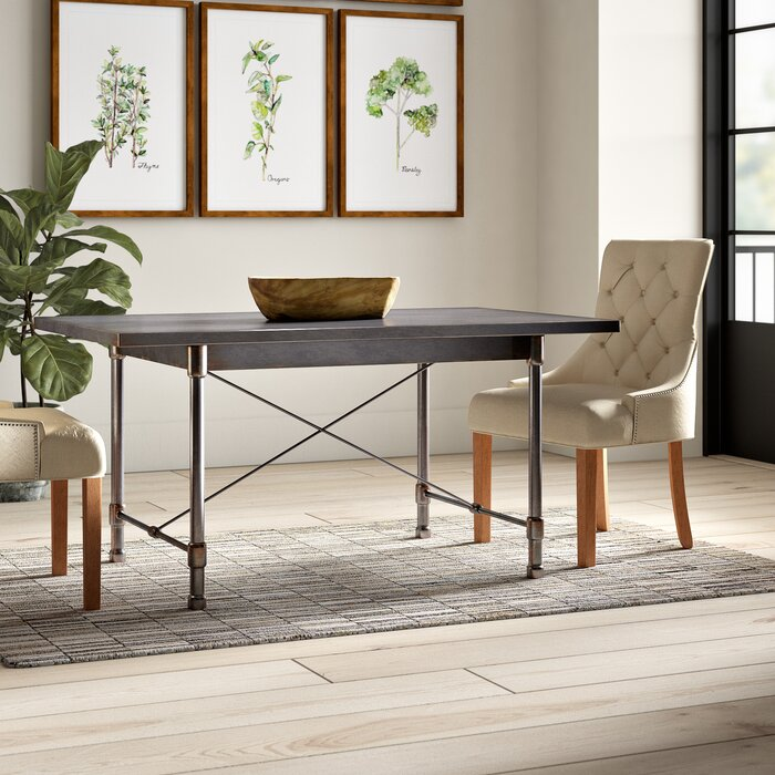 modern farmhouse and industrial metal dining table