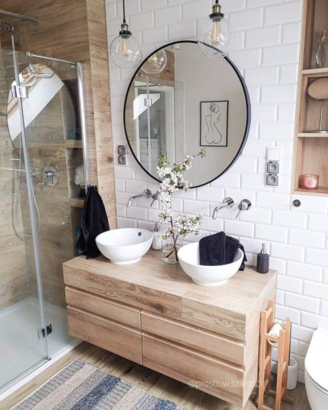 Ahşap benzeri banyo karoları tasarım fikri