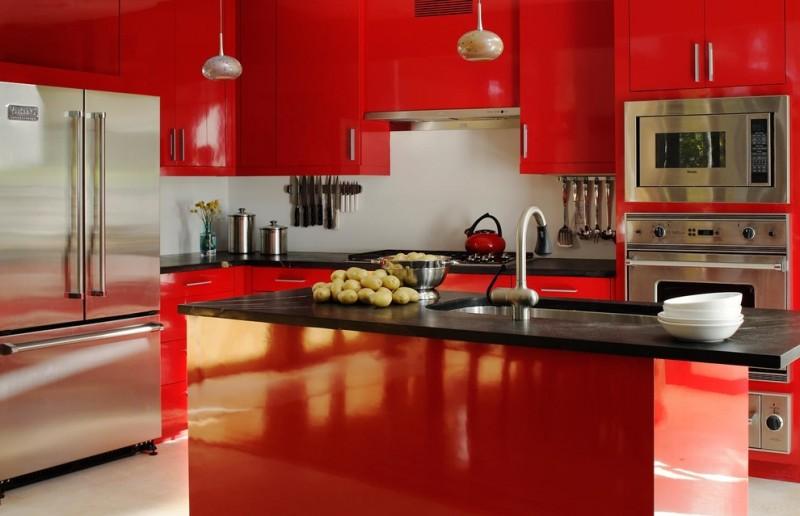 Modern Red And Black Kitchen Cabinets Novocom Top