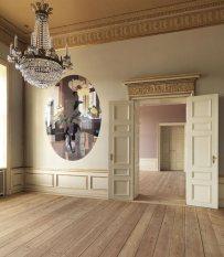 Esta pintura de Erik A Frandsen cobra todo el protagonismo en el futuro despacho de la princesa Mary, en el que, como en la mayoría de las dependencias, destaca el austero suelo de madera no barnizada