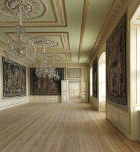 Hall con vistas al jardín, esta impresionante sala está opuesta al hall principal y tiene vistas a los jardines de palacio
