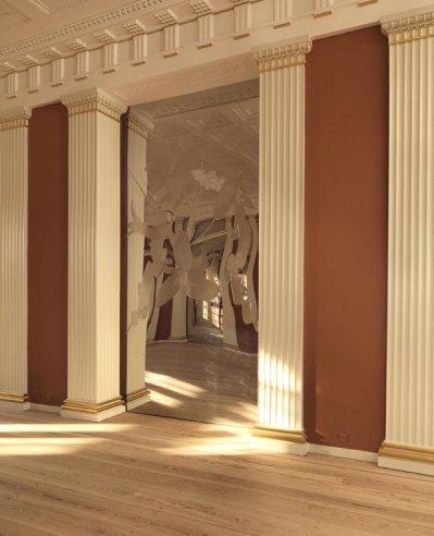 Trabajo artístico de Erik A Frandsen para el salón de banquetes. Los príncipes han confiado en artistas contemporáneos nórdicos para actualizar el pabellón Federico VIII, construido en 1827