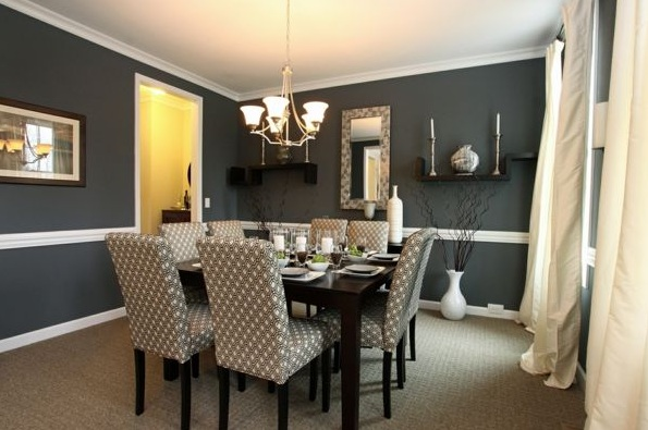 Cotton Fabric Dining Room Chair Ideas With Gray Patterned