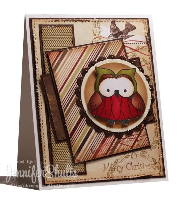 Owly Christmas - handmade card
