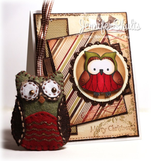 Owly Christmas - handmade card and ornament