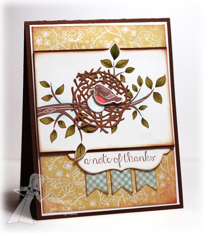 A Note of Thanks, handmade card by Jen Shults