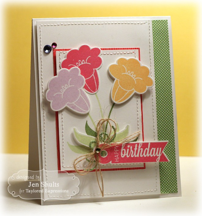 Happy Birthday by Jen Shults, stamps by Taylored Expressions