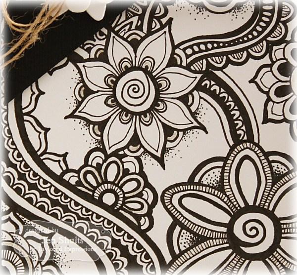 Zentangled card background by Jen Shults