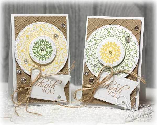 Thank You notes by Jen Shults, stamps and dies from Verve Stamps
