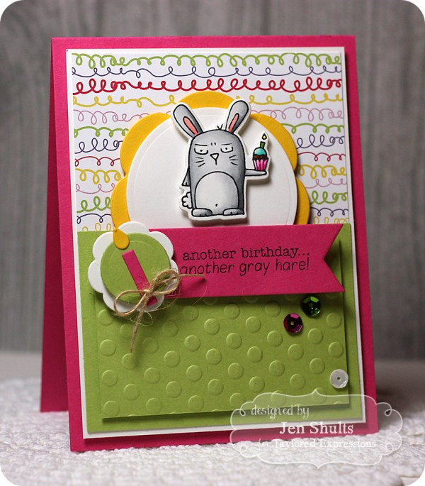 Another Gray Hare by Jen Shults, stamps and dies from Taylored Expressions