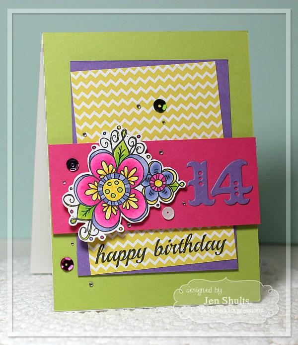 Happy 14th Birthday by Jen Shults, handmade card