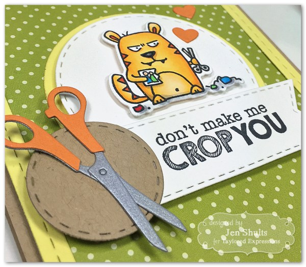 Don't Make Me Crop You, handmade card, stamps and dies from Taylored Expressions