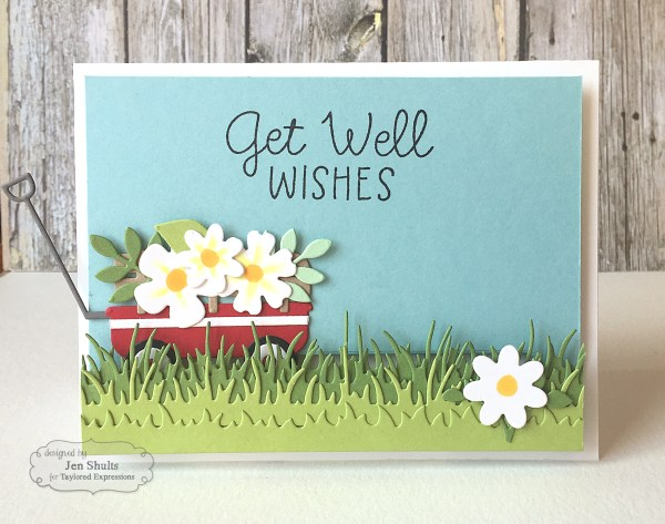 Get Well Wishes by Jen Shults | deconstructingjen.com | handmade card | stamps and dies from Taylored Expressions