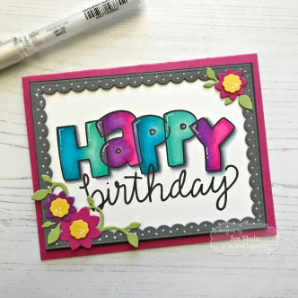 Happy Birthday, handmade card by Jen Shults made using Bubble Greetings from Taylored Expressions. Hand coloring using Copic Markers.
