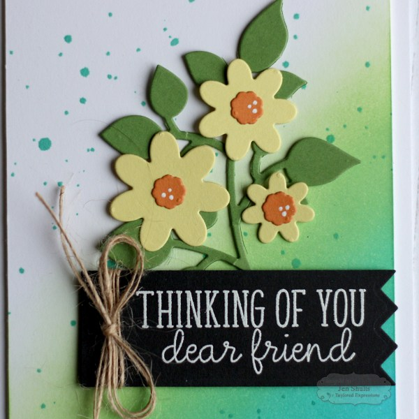 Thinking of You by Jen Shults, ink blending, distress ink, taylored expressions, handmade card