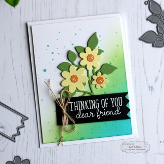 Thinking of You handmade card by Jen Shults, ink blending, taylored expressions