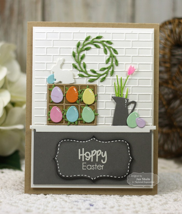 Hoppy Easter by Jen Shults, handmade card stamps and dies from Taylored Expressions