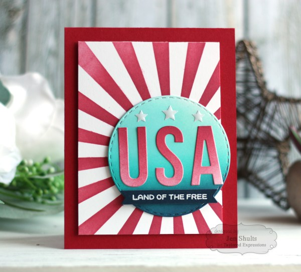 Land of the Free, handmade card by Jen Shults, stamps and dies from Taylored Expressions