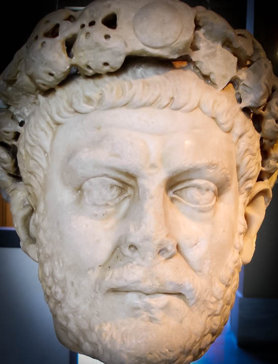 Roman Emperor Diocletian ... Laureate head of Diocletian ... Credit ... G.dallorto ... The photo is taken from ... https://commons.wikimedia.org/wiki/File:Istanbul_-_Museo_archeol._-_Diocleziano_(284-305_d.C.)_-_Foto_G._Dall%27Orto_28-5-2006.jpg