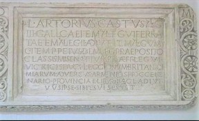 After the restoration and partial reconstruction. Part of the sarcofagus of Lucius Artorius Castus with inscription. Originally found as a part of the wall of the St Martin Church in Podstrana, Croatia