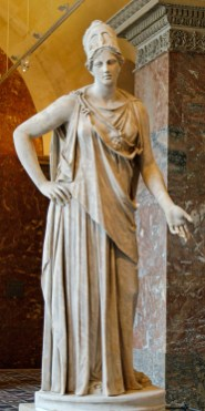 "So-called ""Mattei Athena"". Marble, Roman copy from the 1st century BC/AD after a Greek original of the 4th century BC, attributed to Cephisodotos or Euphranor. Related to the bronze Piraeus Athena. This work is part of the collections of the Louvre (Department of Greek, Etruscan, and Roman Antiquities). (Public Domain) The photo is taken from ... https://commons.wikimedia.org/wiki/File:Mattei_Athena_Louvre_Ma530_n2.jpg"