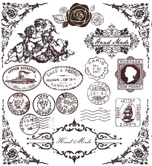 6-piece-lot-19-18CM-Vintage-Postmark-European-Style-Heat-Transfer-Film-Sticker-Heat-Transfer-Printing