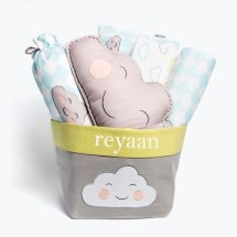 "Happy Cloud-Baby Bedding Crib Gift Set, Baby Bedding, Baby Boy Bedding, Baby Gift, Baby Gift Ideas, Cloud Baby Bedding, Baby Boy Bedding Set Happy Cloud-Baby Bedding Crib Gift Set, Baby Bedding, Baby Boy Bedding, Baby Gift, Baby Gift Ideas, Cloud Baby Bedding, Baby Boy Bedding Set Happy Cloud-Baby Bedding Crib Gift Set, Baby Bedding, Baby Boy Bedding, Baby Gift, Baby Gift Ideas, Cloud Baby Bedding, Baby Boy Bedding Set Happy Cloud-Baby Bedding Crib Gift Set, Baby Bedding, Baby Boy Bedding, Baby Gift, Baby Gift Ideas, Cloud Baby Bedding, Baby Boy Bedding Set Happy Cloud-Baby Bedding Crib Gift Set, Baby Bedding, Baby Boy Bedding, Baby Gift, Baby Gift Ideas, Cloud Baby Bedding, Baby Boy Bedding Set 🔎zoom Item details 4.5 out of 5 stars. (33) reviews Shipping & Policies Celebrate a new baby with our luxury gift basket, filled with plush and practical must-haves for the cot and chic accents for the nursery. This is sure to be a memorable gift for new parents! Includes 1 x Baby Pillow 2 x Bolsters 1 x Baby Dohar Blanket OR Baby Quilted Blanket 1 x Fitted Cot Sheet 1 x Shape Cushion 1 x Fabric Storage Basket Features • Certified organic cotton • Hypoallergenic • Light weight • Soft hand feel • Reversible design • Coordinated theme • Machine washable Personalisation We can embroider the little one's name onto our blanket and/or storage basket if you'd like! Simply choose the option ""w/ Name"" from our dropdown menu. The font and colour of thread will be as per the photo displayed on our page. If you'd like a different thread colour, let us know and we can try to accommodate your request if possible. Good to Know All of our items are designed and handmade with care and love in our Mumbai studio. Printed by hand, slight variations are natural and part of the charm! Safety Measures Avoid placing any loose items in the cot while your baby is sleeping unattended and tuck blankets in securely. Fabrics & Sizes • Pillow: GOTS certified organic cotton voile exterior, cambric lining, soft hypoallergenic poly filler included 