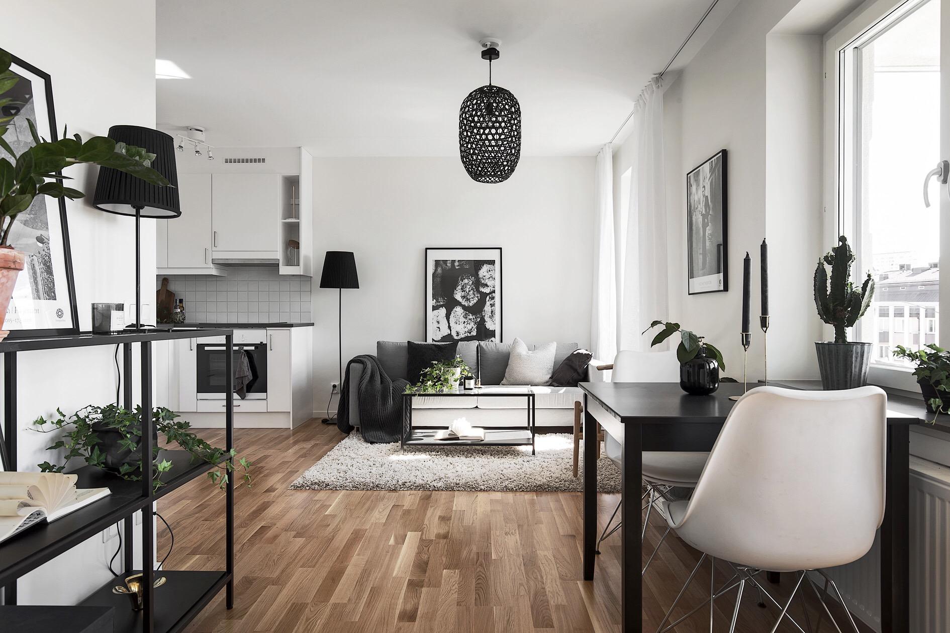 гостиная кухня диван столик подвесная лампа