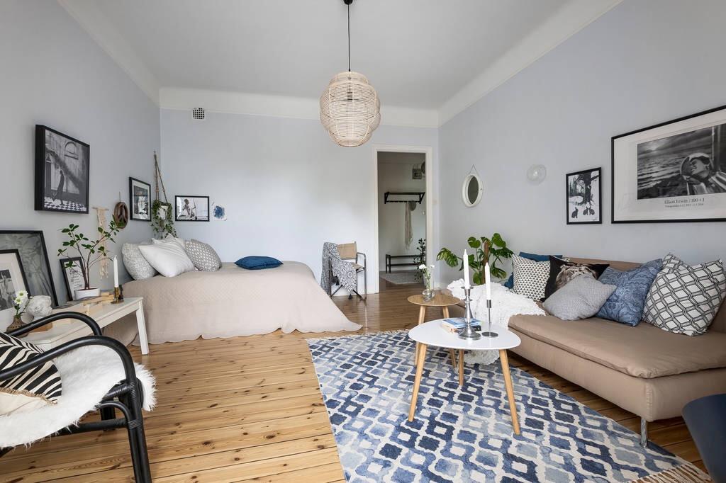 гостиная спальня лампа диван кровать кресло