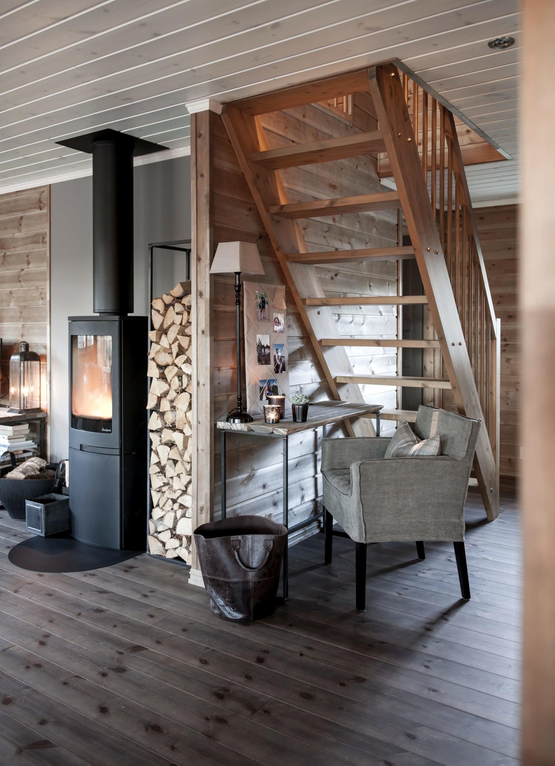 дровяная печь дрова лестница коридор