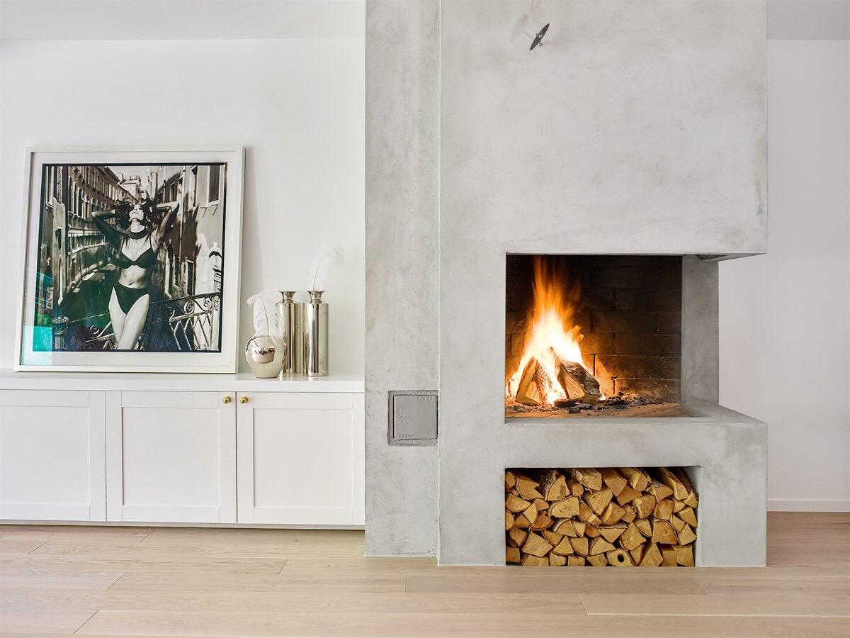 камин дрова гостиная бетон