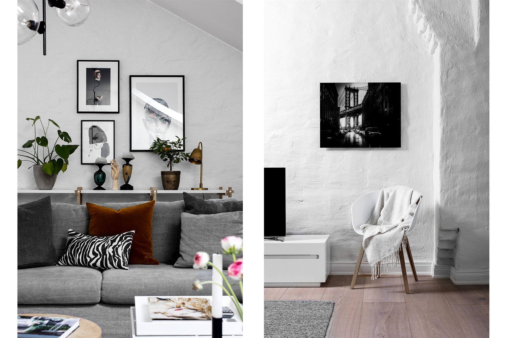 Белые стены мансарда диван телевизор
