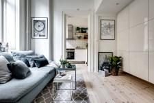 гостиная диван шкаф столик ковер деревянный пол