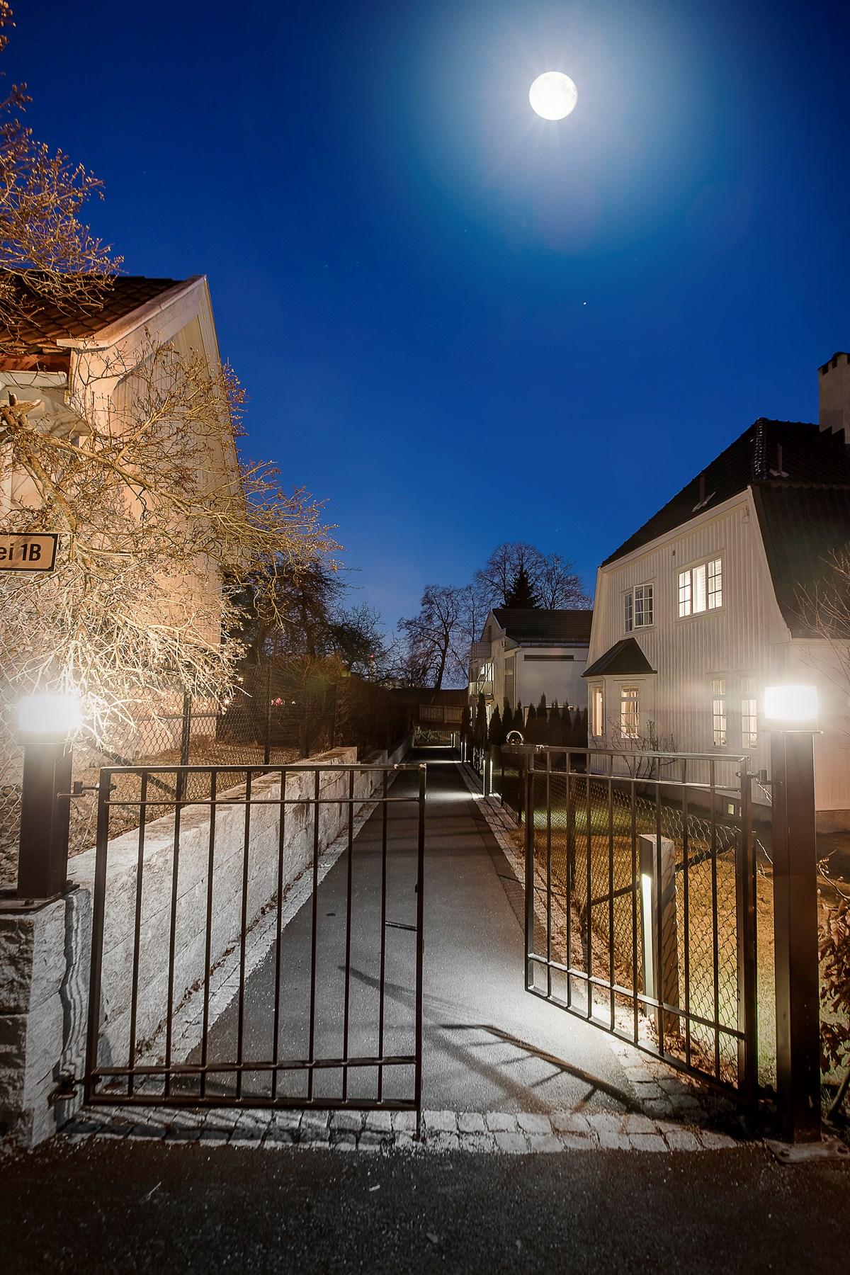 вечернее освещение загородный дом