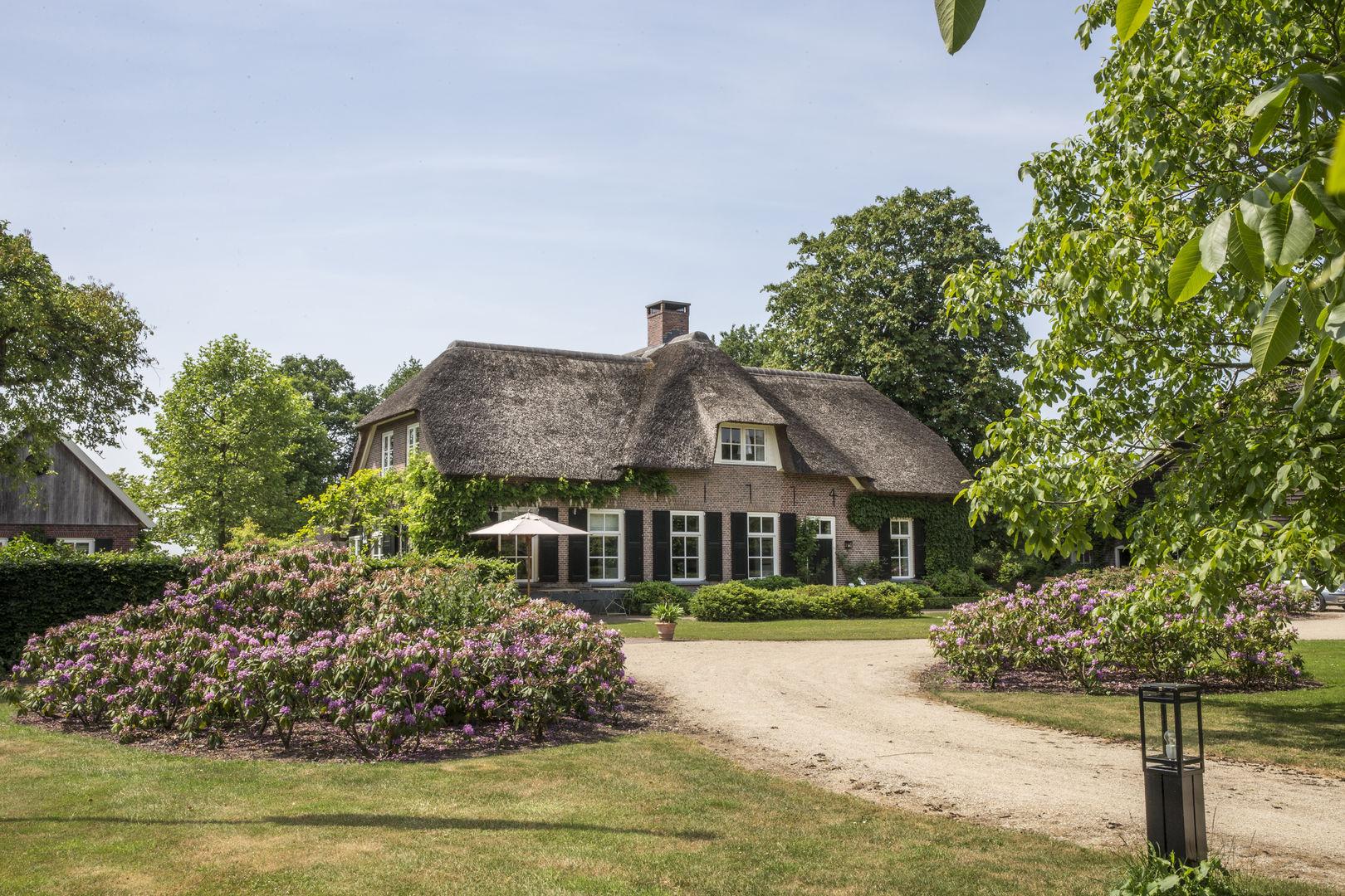 фасад загородного дома с соломенной кровлей дорога кустарники деревья