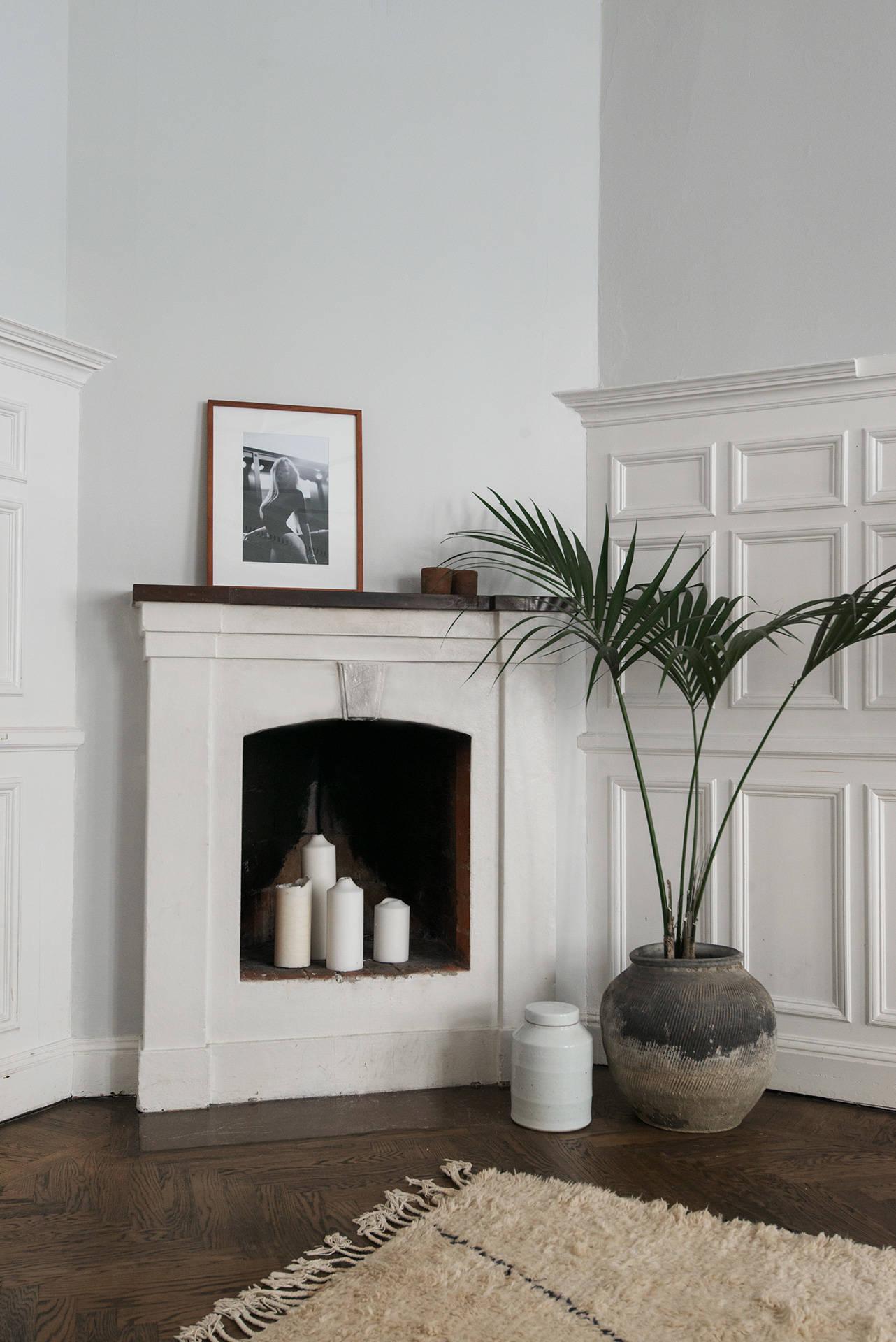 гостиная камин стеновые панели