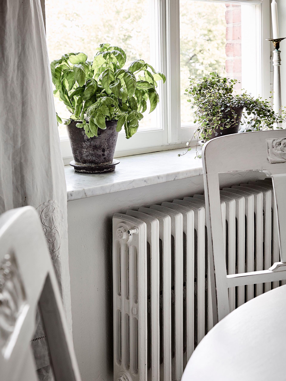 окно подоконник радиатор цветы