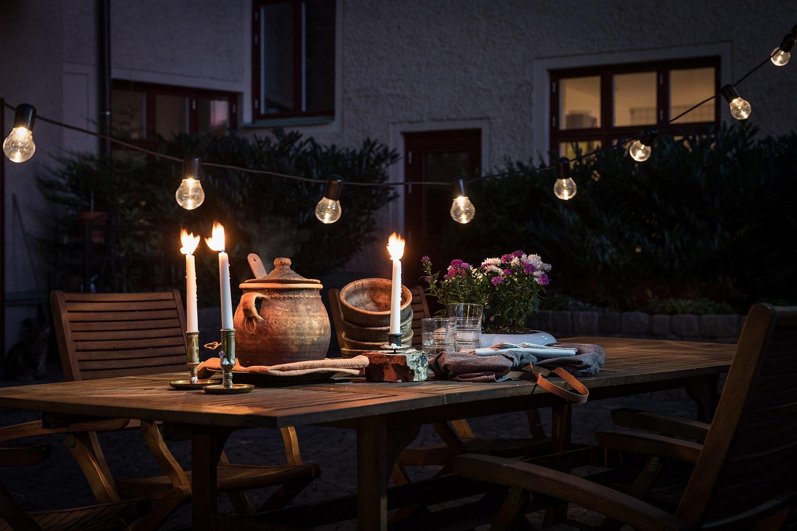 сервировка вечернее освещение