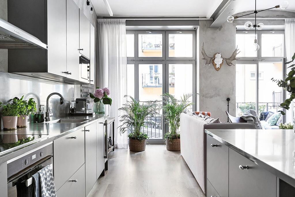 кухонная зона мебель серые фасады