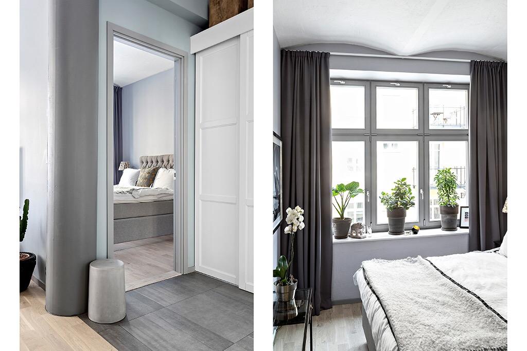 прихожая коридор напольная серая плитка дверь в спальню