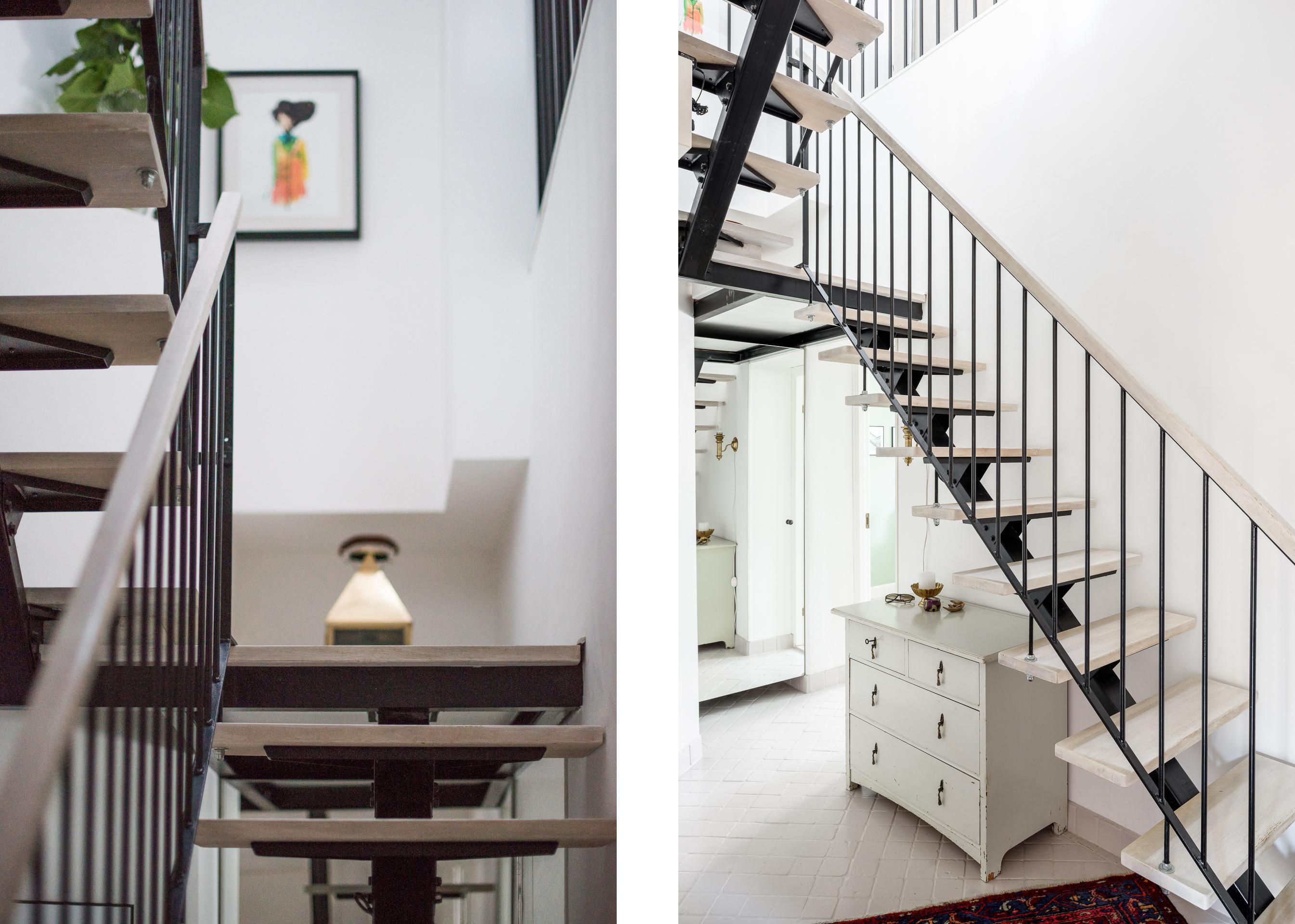 металлическая лестница деревянные перила ступени
