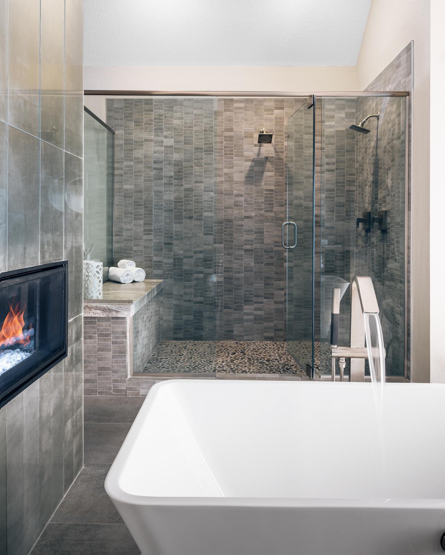 ванная комната камин ванна душевая