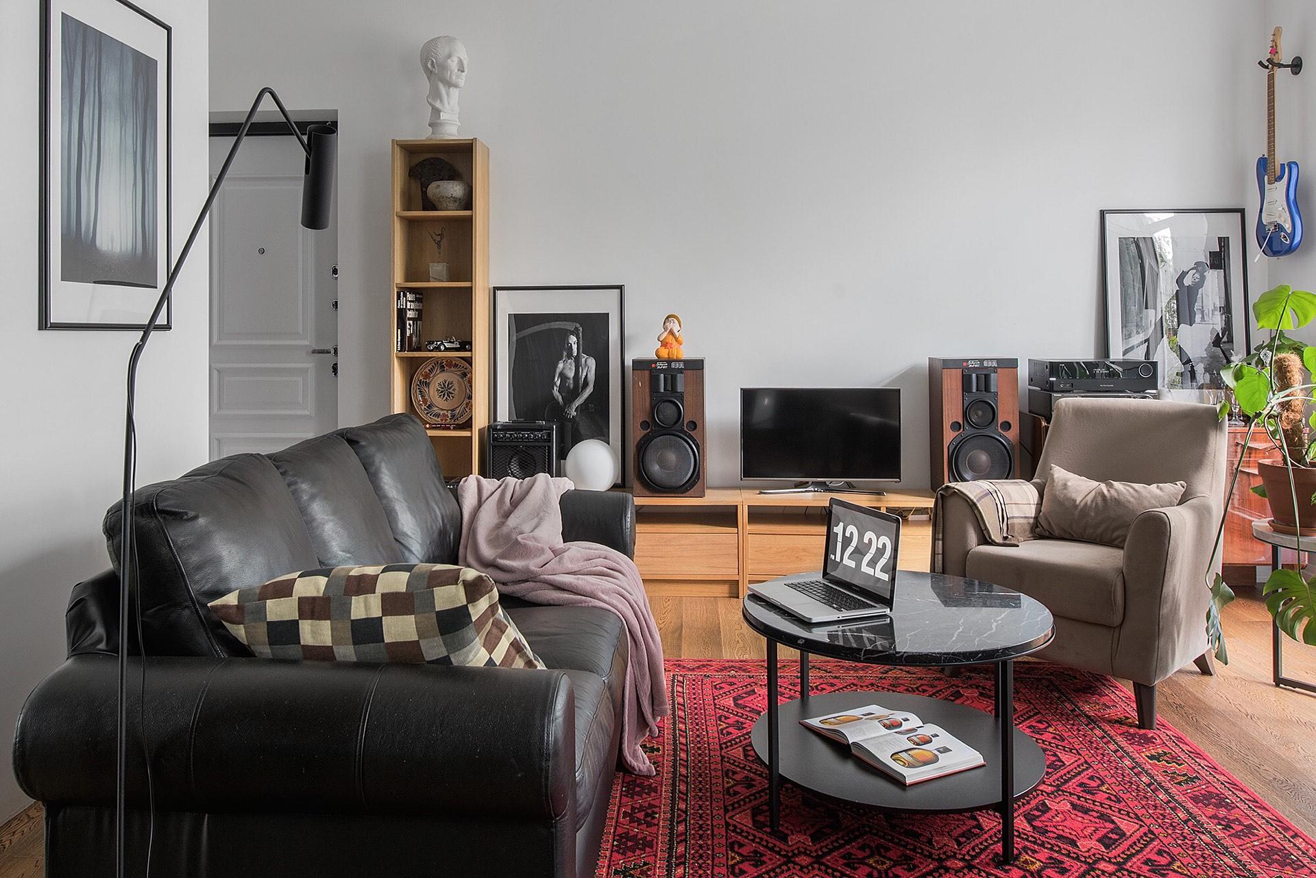гостиная кожаный диван журнальный столик телевизор