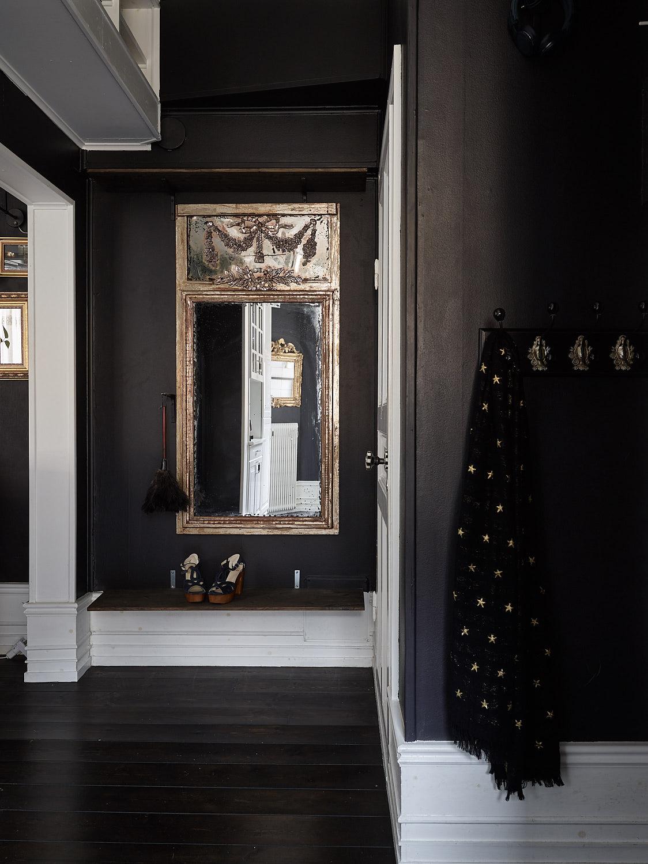 прихожая коридор одежда зеркало темные стены белый плинтус