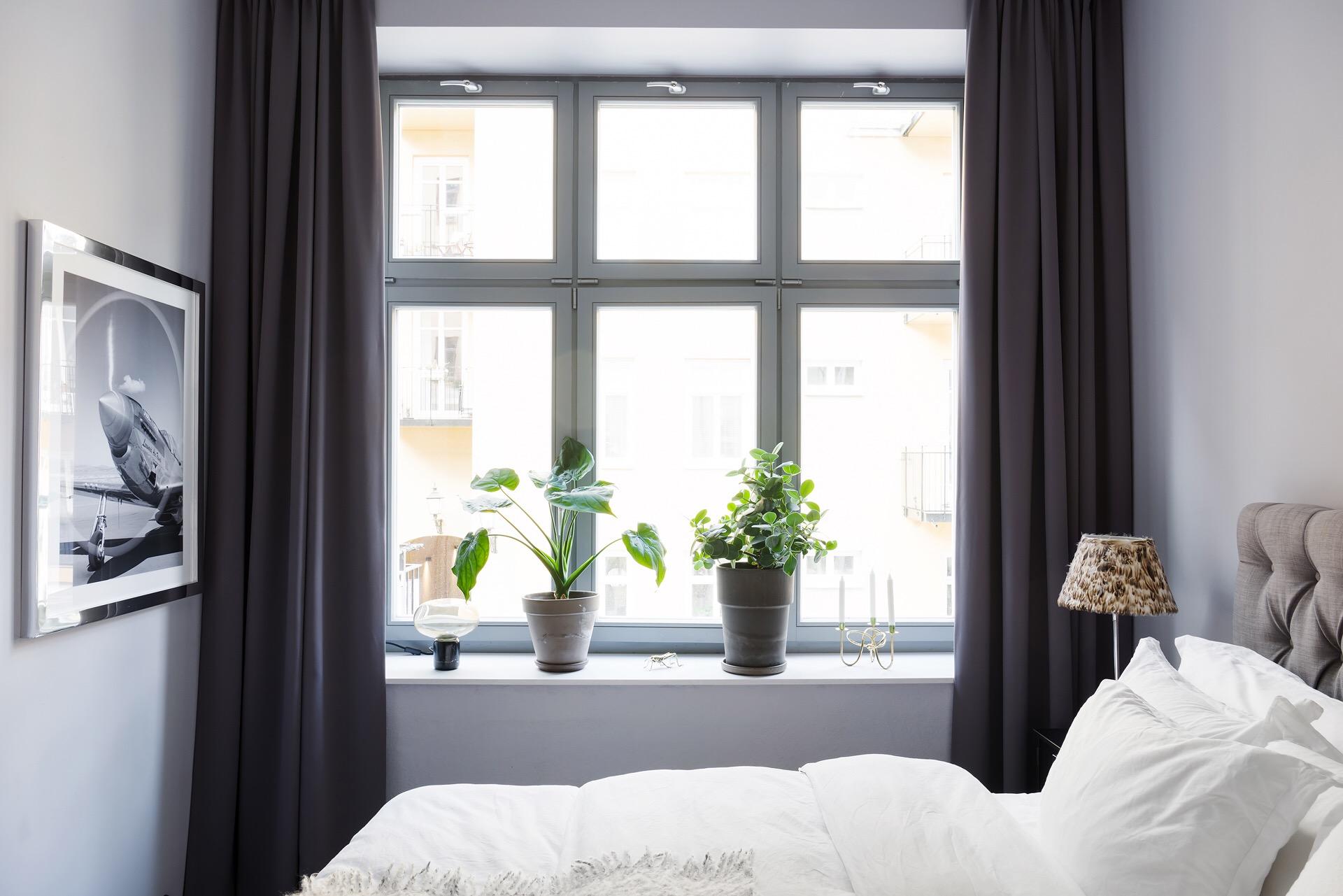 спальня кровать окно шторы подоконник цветок
